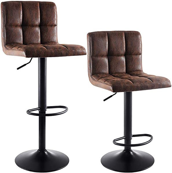 SUPERJARE Set Of 2 Adjustable Bar Stools Swivel Barstool Chairs With Back Pub Kitchen Counter Height Vintage Brown Fabric
