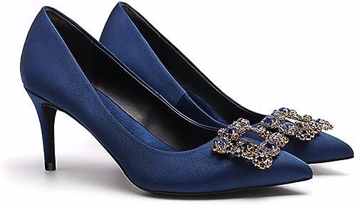 HXVU56546 La Nueva Punta Fina Con zapatos De mujer Brillante Parte Lazos Con Los Gatos Salvajes De Tacón Alto De 37 Moda azul Royal