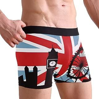 JERECY UK British Flag London Boxer Briefs Men's Underwear Boys Stretch Breathable Low Rise Trunks S-XL