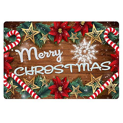 PZZ Poinsettia Floor Doormat Merry Christmas Decora Front Entrance Door Mat Durable Non-Slip Rugs Welcome Carpet for Bedroom Living Room Bathroom Office