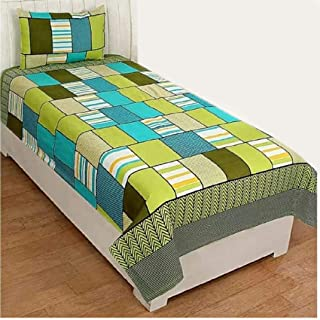 PRIDHI Super Soft Glace Cotton Single Bedsheet with 1 Pillow Cover (Fast color1) New design4