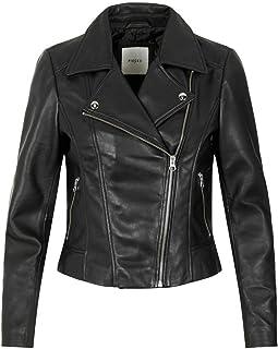 PIECES Pcsusse Leather Jacket Kac Chaqueta de Cuero para Mujer