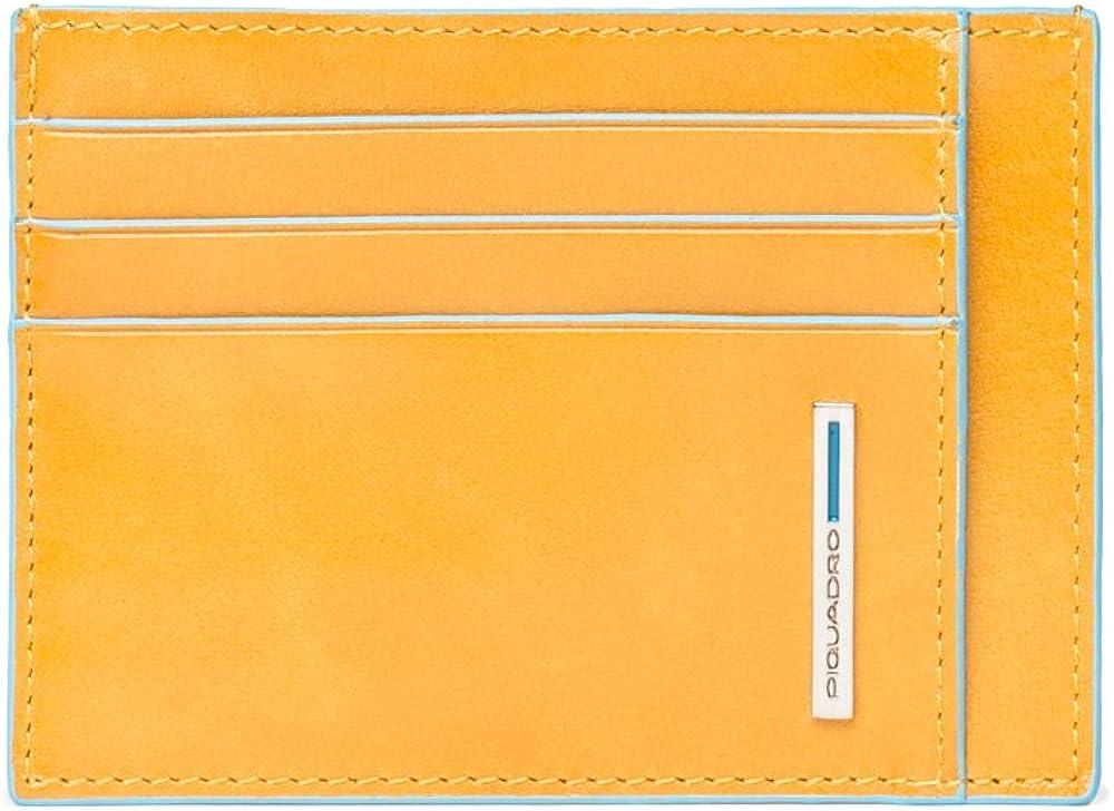 Piquadro, porta carte di credito in vera pelle, giallo PP2762B2C