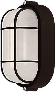 Weatherproof Bulkhead Oval Flushmount Exterior Light for Wet Locations, Black