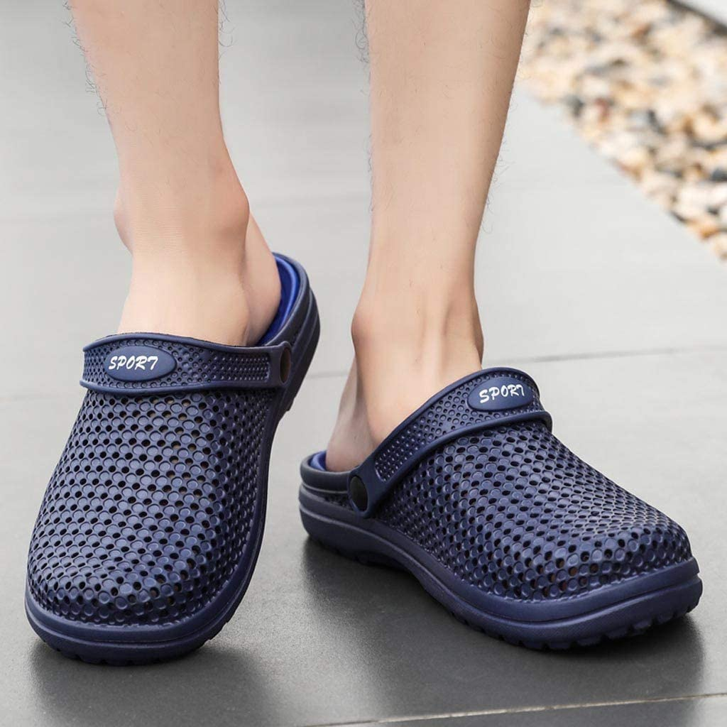 Xiloccer Mens Beach Leather Sandals Fashion New Summer Hole Shoes Sandals Breathable Casual Outdoor Non-Slip Beach Slipper