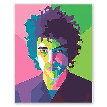 Bob Dylan Poster - Geometric Illustration - Bob Dylan Portrait for Bedroom Decor - Gift for Friend (11x14)