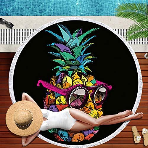 DXSX Frutas de piña Toalla de Playa Redonda Verano Piscina Yoga Viajes Manta de Playa Decoracion de Habitaciones 150 * 150cm (Piña #1)