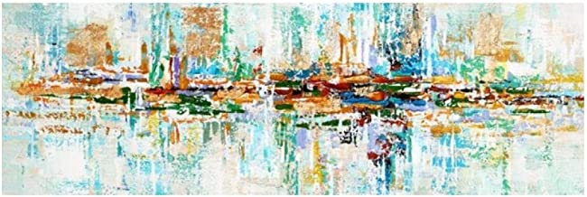IGNIUBI.Modern Abstract Oil Painting on Canvas Poster Print Wall Art Abstract Money Wave Pictures for Living Room Cuadros Decor — 60x120cm sin Marco
