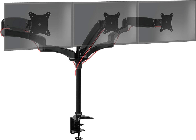 Duronic Monitor Arm Stand DM553   Triple PC Desk Mount   Black   Aluminum   Height Adjustable   for Three 15-27 inch LED LCD Screen   VESA   11lbs per Screen   Tilt -90°/+85°, Swivel 180° Rotate 360°