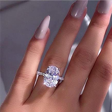 Peigen Promise Rings,Fashion Simple Luxury Oval White Zircon Ladies Ring Jewelry