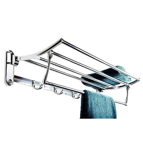 GARBNOIRE Wall Mounted 1.5 Feet Long Folding Towel Shelves/Rack/Towel Stand with Chrome Finish for Bathroom Decor