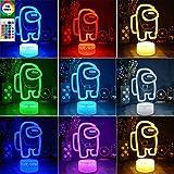 Among us lámpara de ilusión óptica 3d, luz de noche LED luces de escultura táctil de 16 colores con control remoto, regalo para entusiastas del juego (B)