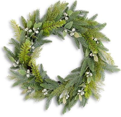 K&K Interiors 54326C 28 Inch Mixed Pine w/Cream Pods Wreath on Vine Base, Green