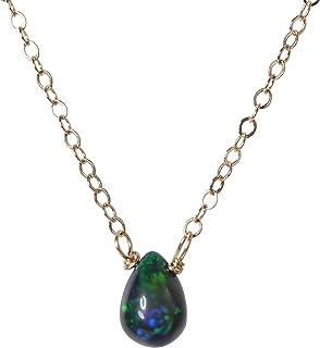 Black Opal Teardrop Necklace- Black Blue Green Genuine Opal Gemstone- October Birthstone Women`s Jewelry Gift Idea