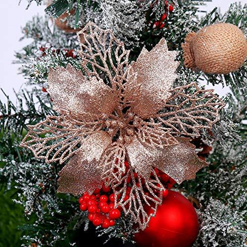 TT-Best - Stelle di Natale artificiali glitterate per albero di Natale, decorazioni natalizie o per matrimoni, diametro 16 cm, confezione da 12 Oro rosa