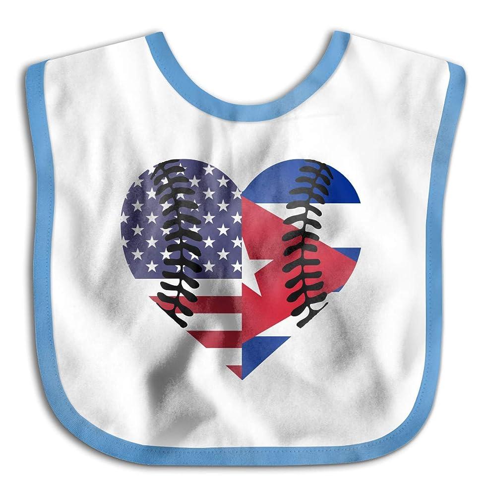 Cuba USA Flag Half Baseball Infant Baby's Cotton Saliva Towel Baby Bibs Waterproof Saliva Towel