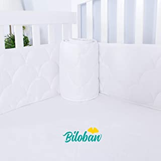 Breathable Crib Bumper Pads for Standard Crib, Nursery 3D Wave Print Crib Bedding Bumper Liners for Boys Girls 4 Pieces/Set, White