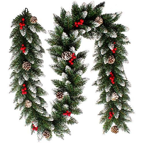 Homewit 2,7 M Weihnachtsgirlande mit 10 Kiefernzapfen und 10 rote Beerenfrucht Tannengirlande Künstliche Weihnachtskranz Türkranz Wandkranz Weihnachten Weihnachtsdeko für außen & innen, mehrweg