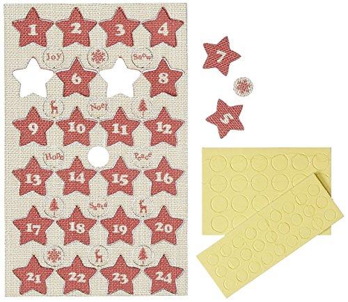 RAYHER HOBBY 56904000 Madera-Calendario de Adviento números, 2,5 cm de diámetro, Estrellas, SB-Bolsa 24 pcs