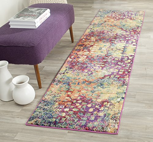 Safavieh Monaco Collection MNC225D Boho Chic Abstract Watercolor Non-Shedding Stain Resistant Living Room Bedroom Accent Rug, 22 x 4, Pink / Multi