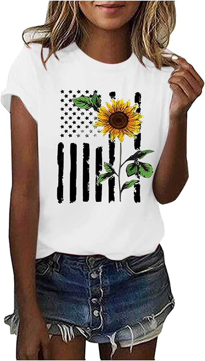 Fanteecy Womens American Flag Star Tank Tops Cute July 4th Independence Day Sunflower Graphic Tees T-Shirts