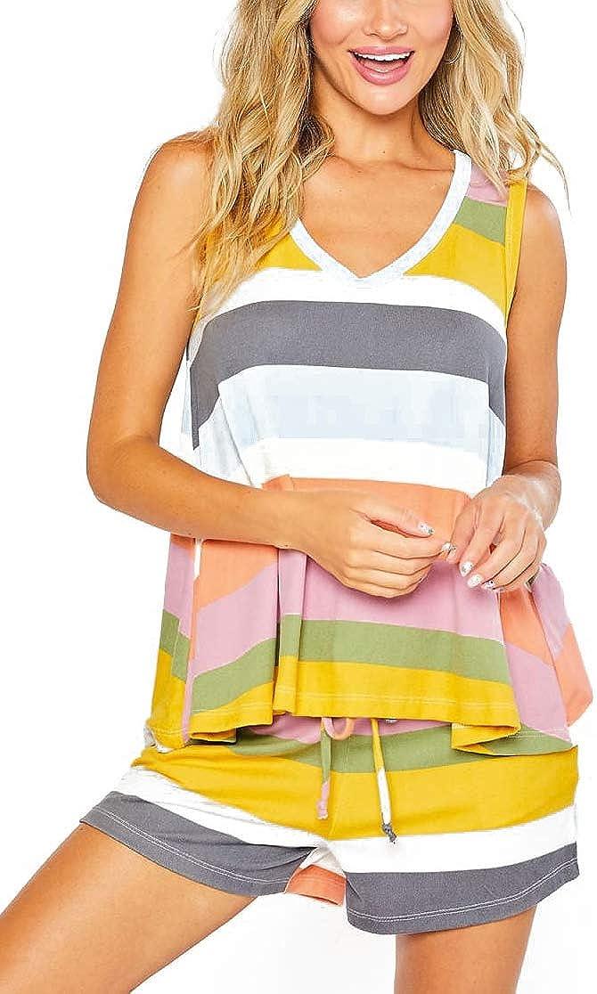 Women Plus Size Pajamas Set Rainbow Striped Tank Shorts Loungewear Sleepwear with Pockets