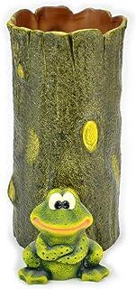 傘立て ポルトガル製 陶器 グリーン よっしゃカエル うで組み傘たて スリム 可愛い 幸運 蛙 縁起