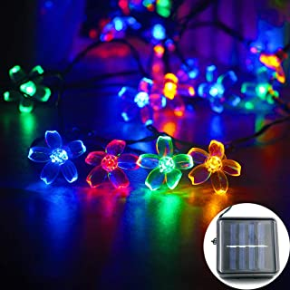 mankinlu Solar Flower String Lights, Solar Powered Multicolor Cherry Blossom 23ft 50 LEDs Waterproof Outdoor String Lights for Patio, Lawn, Garden, Holiday and Christmas Tree Decoration(Multicolor)