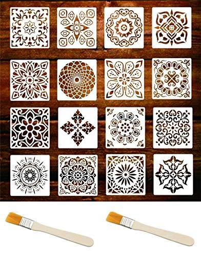 16 plantillas de mandala, plantillas de pintura reutilizables, utilizadas para proyectos de suelo, pared, azulejos, tela, madera, bricolaje y manualidades (15 x 15 cm)