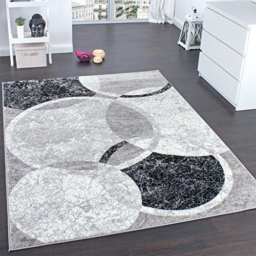 Paco Home Tappeto di Design per Salotto Motivo A Cerchio Grigio Crema Prezzo Eccezionale, Dimensione:160x220 cm