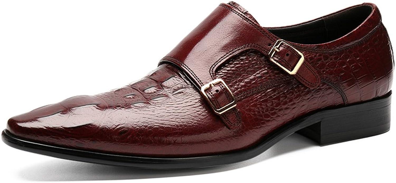 FARYM Men's Emboss Leather Monk shoes