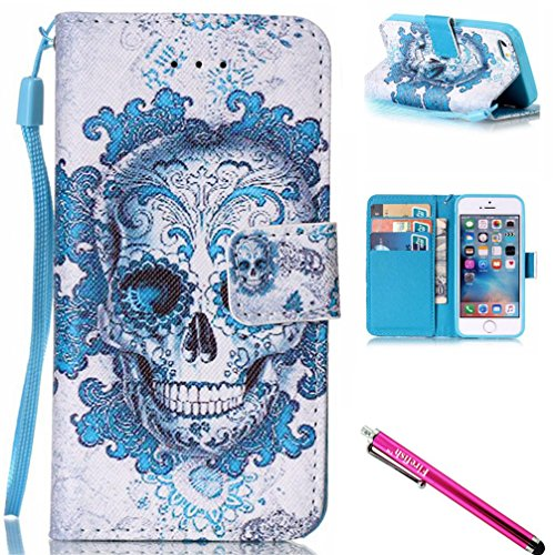 """iPhone 6S Plus Case, Firefish Kickstand Flip [Card Slots] Wallet Cover Double Layer Bumper Shell with Magnetic Closure Strap Protective Case for Apple iPhone 6 Plus / 6S Plus 5.5""""-Skull"""