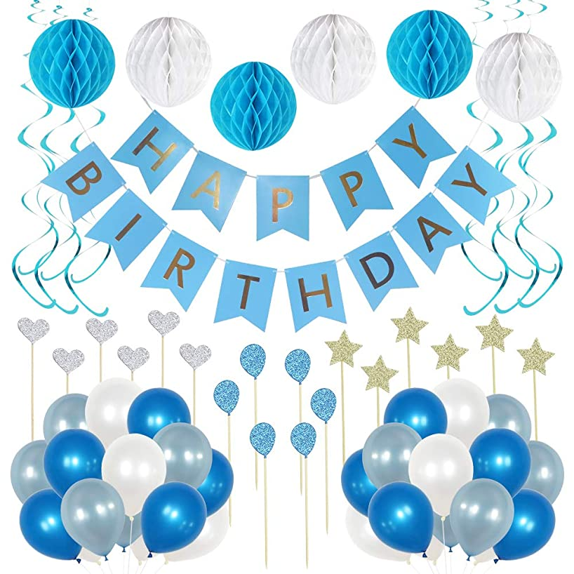 Blue and White Party Decoration Supplies - Birthday Decorations for Boys and Girls. Photo booth backdrop with balloons, cupcake topper for baby shower, gender reveal, birthday celebrations for adults.