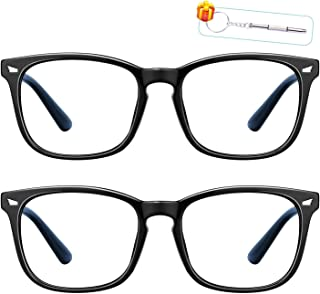 Blue Light Blocking Glasses 2pack, Computer Eyewear Blocking UV Anti Fatigue Eyeglasses Transparent Lenses, Blue Light Blo...