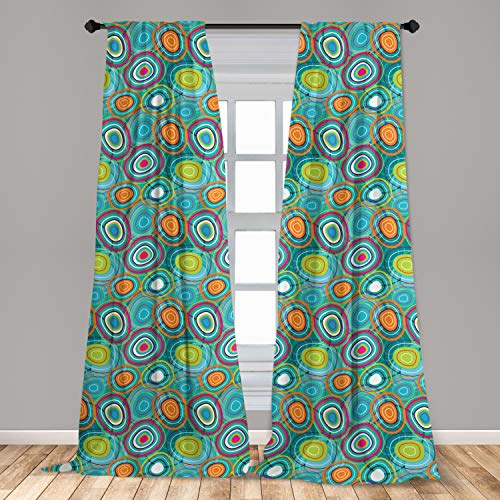 """Lunarable Retro Curtains, Bulls Eye Pattern Inspired Circular Shapes of Many Colors Abstract Art Illustration, Window Treatments 2 Panel Set for Living Room Bedroom Decor, 56"""" x 63"""", Multicolor"""