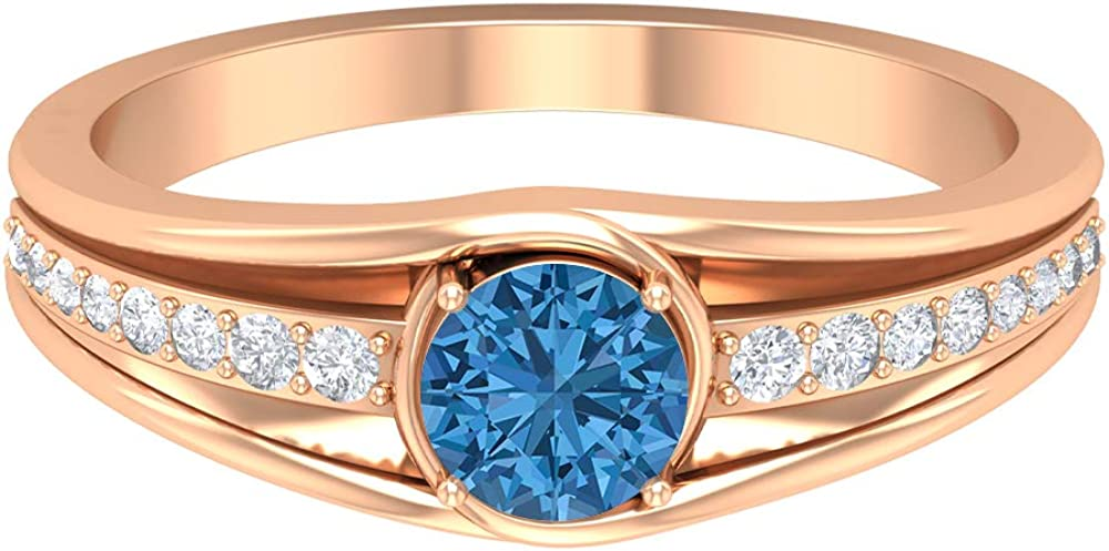 5 MM Lab Created Arctic Blue Diamond Max 67% OFF So Ranking TOP1 Accent Ring HI-SI
