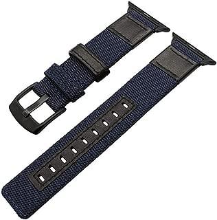 しっかりと耐久性のあるナイロン+レザーストラップバンドアップルウォッチ3/2/1 42 mm / 38 mm手首の時計バンド+ iwatcのクラシックメタルバックルブレスレット,blue,42mm