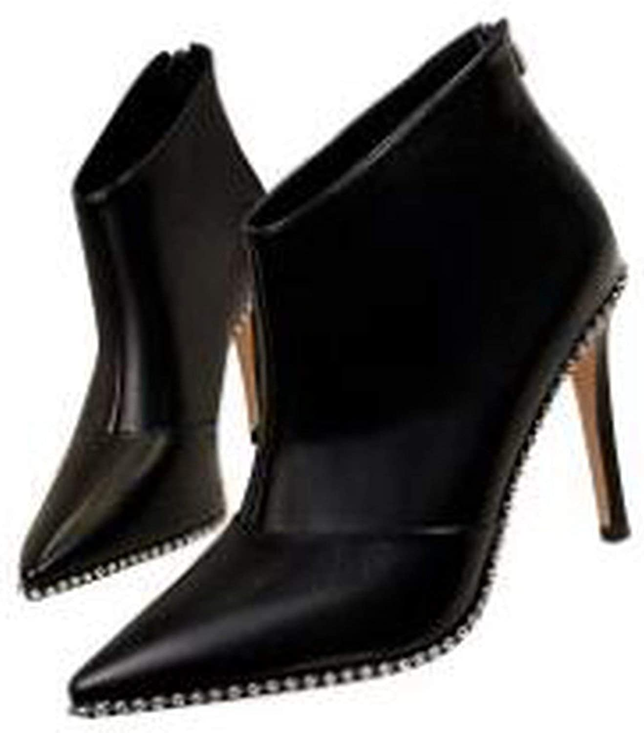 High Heels Matte Suede Pointed Toe Stud Around The shoes Short Ankle Boot