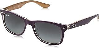 Ray-Ban Junior RJ9052S New Wayfarer Kids Sunglasses, Matte Violet On Orange/Grey Gradient, 48 mm