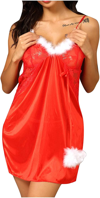 CofeeMO Women Christmas Sexy Sling Nightdress Womens V Neck Lace Red Underwear Sleeveless Plus Size Lingerie Gauze Pajamas