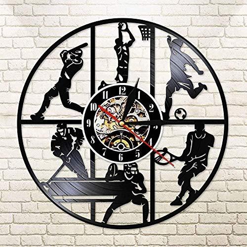 xiadayu Deportes Modernos Fútbol Hockey Hockey Reloj de Pared de Vinilo Béisbol Baloncesto Juego de Pelota de Tenis Reloj de luz Que Cambia de Color Reloj Siete Colores 12 Pulgadas