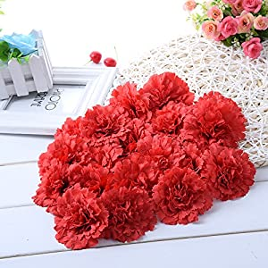 Sundlight 20pcs Silk Cloth Carnation Flower Head Simulation Artificial Flowers for Wedding Party Home Decoration-Red