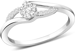 Peora Love Bound CZ Ring in 925 Sterling Silver Rhodium Finish