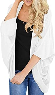 Womens Casual Bat Sleeve Loose Fit Solid Color Cardigan Coat