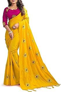 kfgroup Women's Paper Silk Embroidered Saree Indian Ethnic Dresses Wedding Sari with Blouse