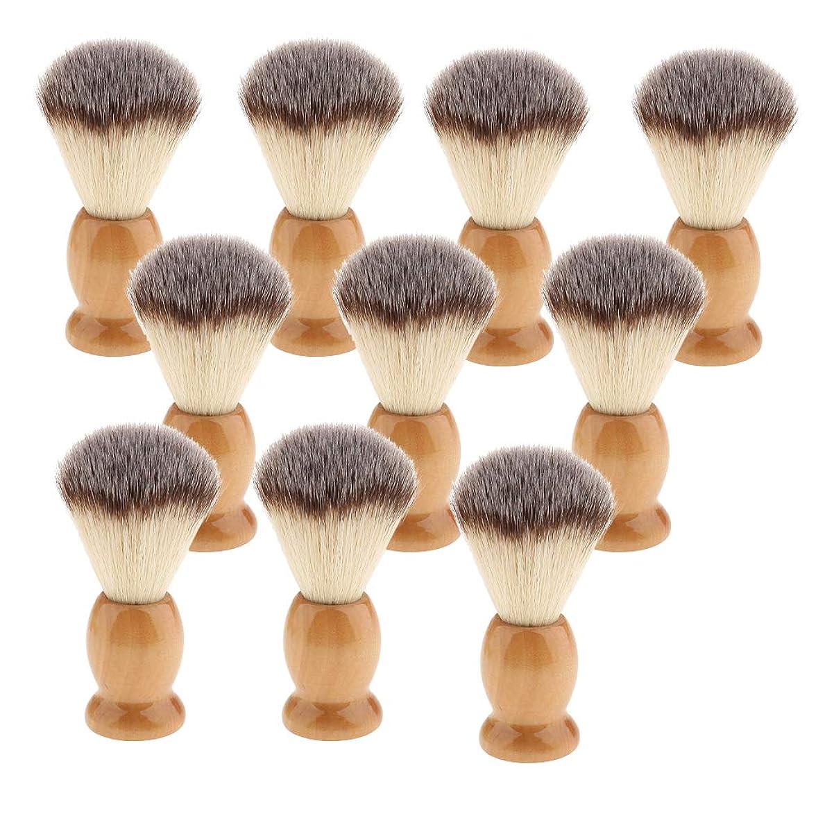 保守的仮称過激派10個 シェービング用ブラシ 手入れ ひげ 木製ハンドル 髭剃り 泡立ち 理容 洗顔