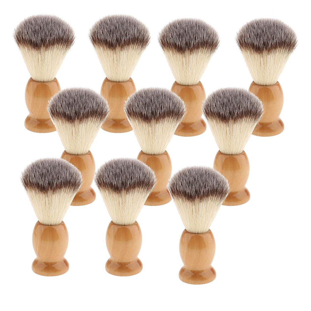 ボード参照する指令dailymall 10ピース木製ハンドルサロン男性ひげ口ひげグルーミングシェービングブラシツール