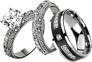 FlameReflection His and Hers Stainless Steel Women's Round CZ Wedding Couple Ring Bridal Set & Stainless Steel Black Plated Stripe Multi Round CZ Wedding Engagement Band