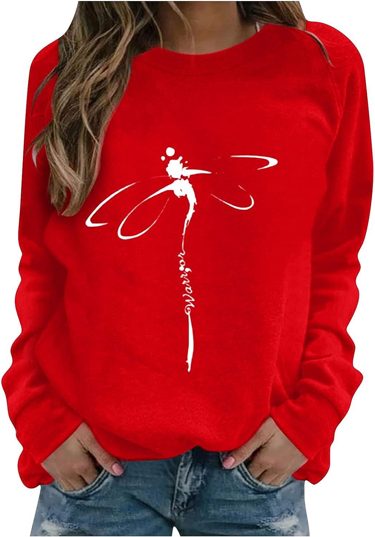 felwors Sweatshirts for Women, Womens Round Neck Long Sleeve Tunic Tops Shirts Loose Soft Casual Blouse Sweatshirt