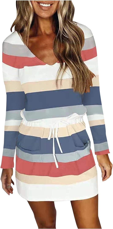 ONHUON Dress for Women,Casual V Neck Sleeveless Spaghetti Strap Dress Stripe Print Short Mini Dress with Drawstring